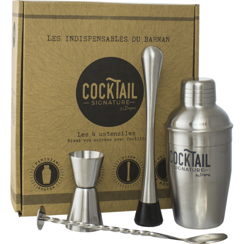Coffret 4 ustensiles cocktails barman
